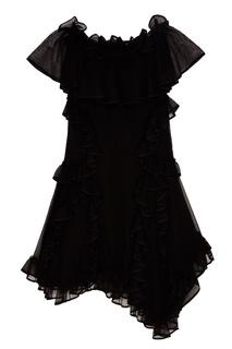 Черное шелковое платье с оборками Alexander Mc Queen