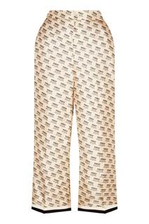 Шелковые брюки с принтом Gucci