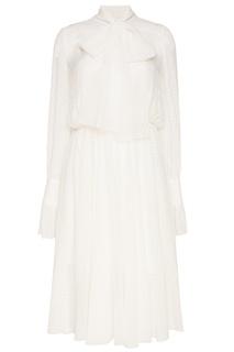 Белое платье из вышитого шелка A LA Russe