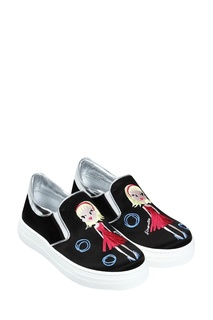 Черные слипоны с вышивкой Simonetta Mini