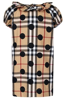 Платье с оборкой на воротнике Burberry Children