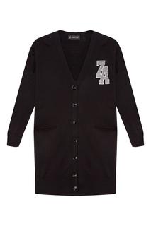 Черный кардиган из шерсти и бамбука Zasport