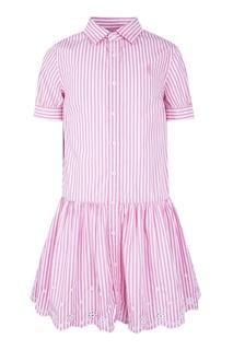Платье в розовую полоску с ажурной отделкой Ralph Lauren Children