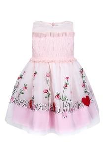 Розовое платье с резинкой и вышивкой Simonetta Mini