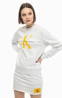 Свитшот с фактурным принтом и вышивкой Calvin Klein