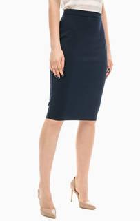 Синяя юбка-карандаш с разрезом Stefanel