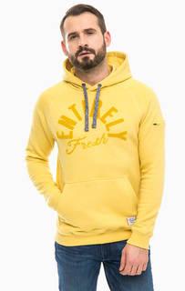 Желтая хлопковая толстовка с капюшоном Lerros