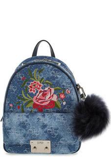 Хлопковый рюкзак с цветочной вышивкой Guess