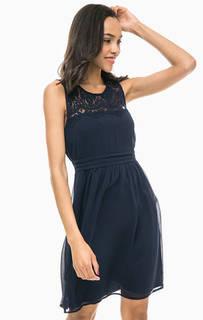 Синее платье с прозрачной вставкой Vero Moda