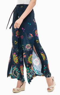 Широкие синие брюки с цветочным принтом Desigual