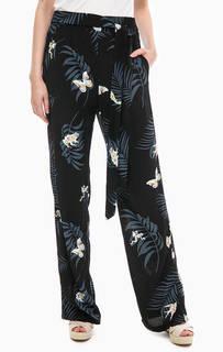Широкие черные брюки с цветочным принтом Desigual