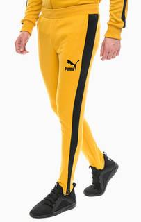 Желтые брюки джоггеры с молниями на штанинах Puma