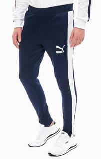 Синие брюки джоггеры с молниями на штанинах Puma