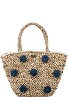 Вместительная соломенная сумка с нашивками Pepe Jeans