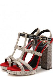 Босоножки Keira из кожи змеи на устойчивом каблуке Dolce & Gabbana