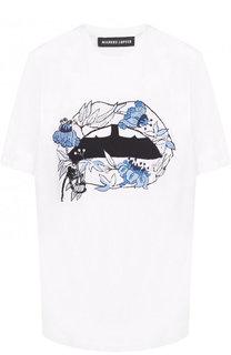 Хлопковая футболка с круглым вырезом и вышивкой Markus Lupfer