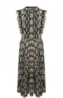 Приталенное платье-миди с принтом и оборками Markus Lupfer