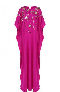 Шелковое платье-макси с контрастной отделкой Oscar de la Renta
