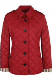 Приталенная стеганая куртка с отложным воротником Burberry