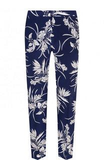Укороченные шелковые брюки с принтом Escada