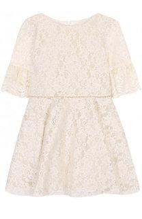Кружевное мини-платье с расклешенными рукавами и стразами на поясе David Charles