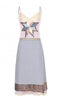 Приталенное платье-миди с пайетками и кружевной отделкой Coach