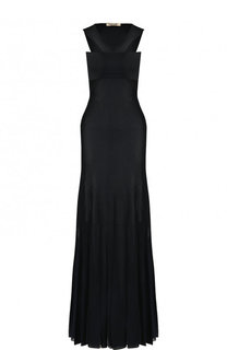 Однотонное приталенное платье-макси из вискозы Roberto Cavalli