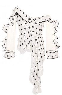 Приталенная блуза асимметричного кроя с принтом self-portrait
