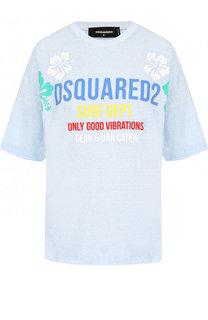 Хлопковая футболка свободного кроя с контрастной надписью Dsquared2