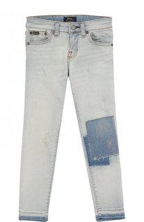 Джинсы с декоративными потертостями и вышивкой Ralph Lauren