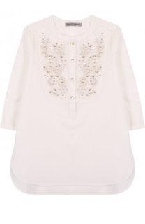Хлопковая блуза свободного кроя с вышивкой и кристаллами Ermanno Scervino