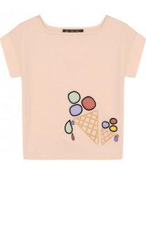 Хлопковая футболка с принтом Loro Piana
