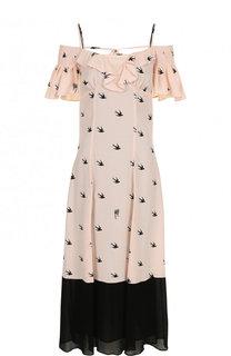 Платье-миди из вискозы с открытыми плечами MCQ