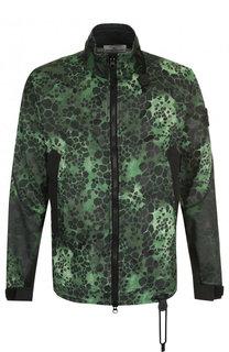 Хлопковая куртка с принтом на молнии с воротником-стойкой Stone Island