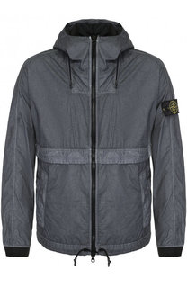 Хлопковая куртка на молнии с капюшоном Stone Island
