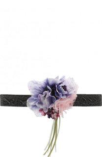 Пояс из смеси шелка с хлопком и декором в виде цветка Dolce & Gabbana