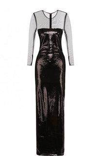 Приталенное платье-макси с длинным рукавом Tom Ford