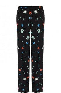Шелковые брюки прямого кроя с принтом Poustovit