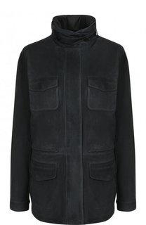Однотонная замшевая куртка с воротником-стойкой Loro Piana