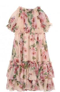 Шелковое платье с принтом и оборками Dolce & Gabbana
