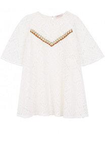 Кружевное мини-платье свободного кроя с металлизированной вышивкой Missoni