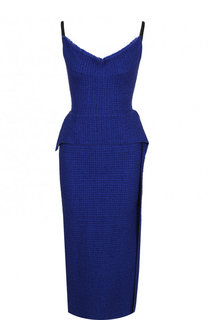 Платье-футляр с V-образным вырезом и баской Roland Mouret
