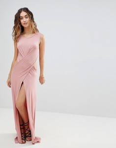 Трикотажное пляжное платье макси с перекрестными бретелями и разрезом ASOS - Розовый