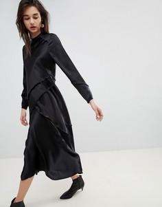 Шелковое платье с длинными рукавами ASOS WHITE - Кремовый