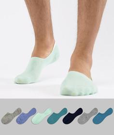 7 пар невидимых носков в сине-зеленой цветовой гамме ASOS DESIGN - Мульти