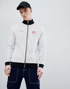 Спортивная куртка в полоску с принтом ASOS DESIGN - Белый