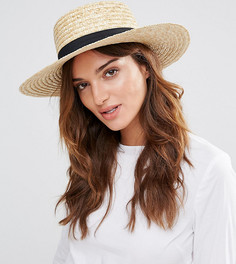 Соломенная шляпа с черной лентой South Beach - Бежевый