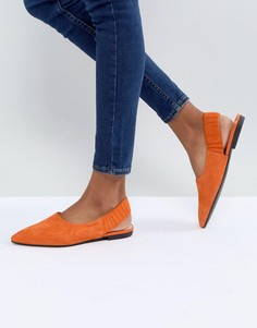 Замшевые туфли на плоской подошве с острым носком и ремешком на пятке Vagabond Katlin - Оранжевый