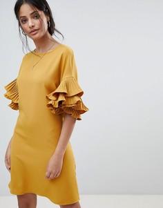 Платье А-силуэта с оборками на рукавах Parisian - Желтый