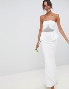 Платье макси с декоративной отделкой City Goddess Wedding - Белый